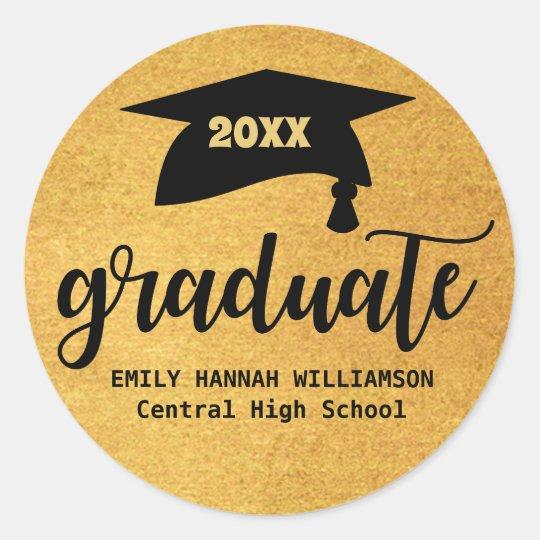 Personalized Gold Graduation Mortar Board Classic Round Sticker