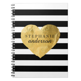 Personalized Gold Heart Notebook