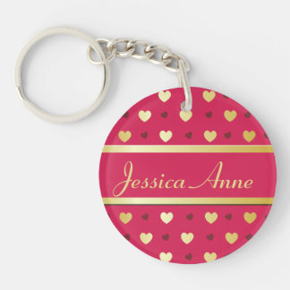 Personalized Gold Hearts on Cerise Double-Sided Round Acrylic Keychain