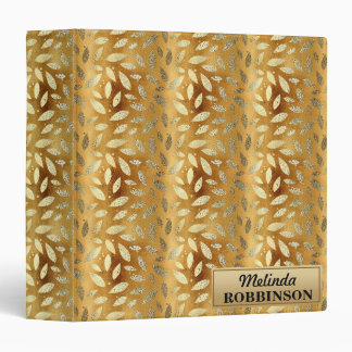 Personalized Gold Leaves Binder Notebook