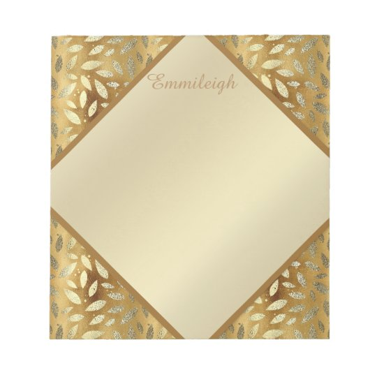 Personalized Gold Leaves Notepad