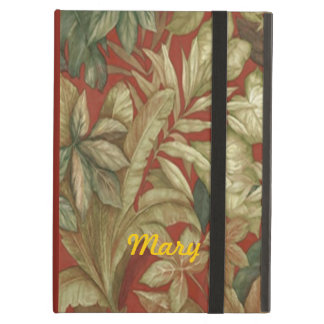 Personalized Gold Leaves On Red iPad Case