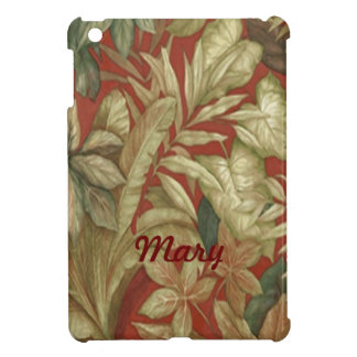 Personalized Gold Leaves On Red iPad Mini Case
