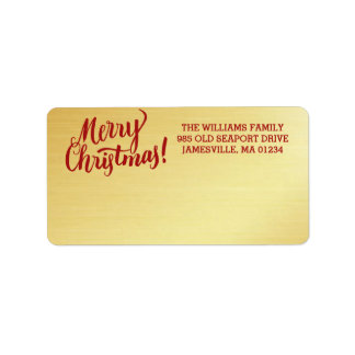 Personalized Gold Merry Christmas Mailing Label