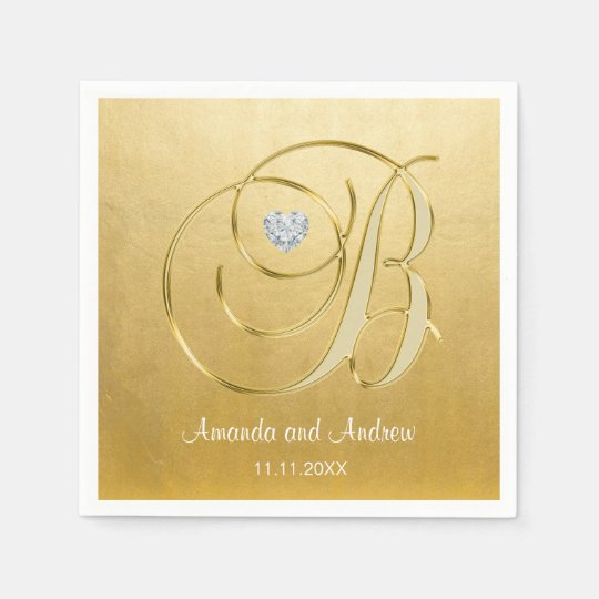 Personalized Gold Monogrammed Initials Diamond Paper Napkins