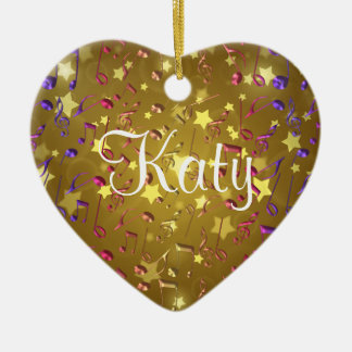Personalized Gold Music Notes Holiday Heart Ceramic Ornament
