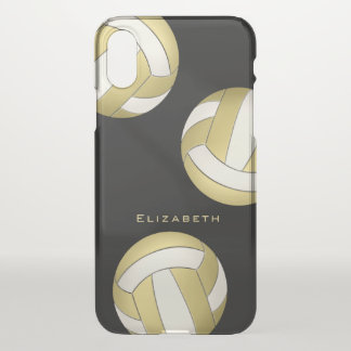 personalized gold on black women's volleyball iPhone x case