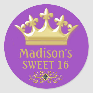 Personalized Gold Princes Crown on Purple Sweet 16 Round Sticker