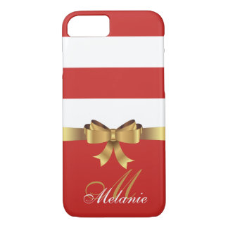 Personalized Gold,  RED AND WHITE BOLD STRIPES BOW iPhone 8/7 Case