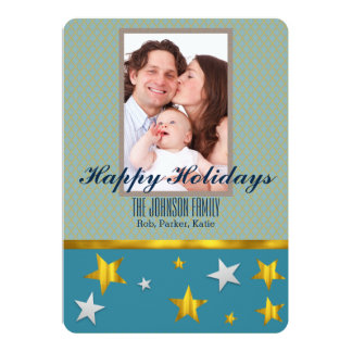 Personalized Gold Stars Happy Holidays Photo Card