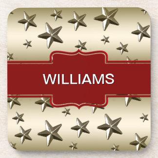 Personalized Gold Stars Pattern Starry Sparkle Coaster