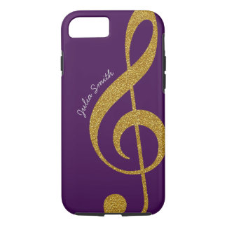 personalized gold treble clef music purple iPhone 8/7 case