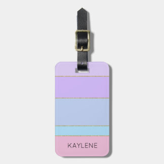 Personalized Gold Trim Colour Stripes Luggage Tag