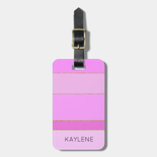 Personalized Gold Trim Pink Stripes Luggage Tag