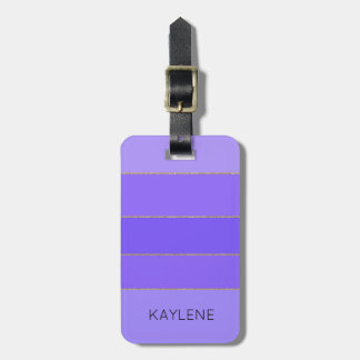 Personalized Gold Trim Violet Stripes Luggage Tag