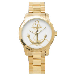 Personalized gold watch Gold anchor Fashion watch