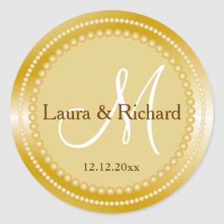 Personalized Gold Wedding Monogram Seals Round Sticker