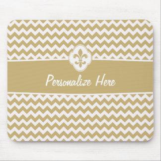 Personalized Gold White Chevron Fleur de Lis Mouse Pad