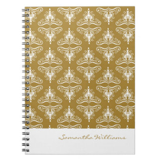 Personalized Gold White Damask Notebook