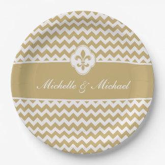 Personalized Gold White Fleur de Lis Chevron 9 Inch Paper Plate