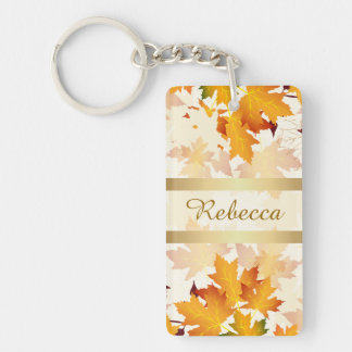 Personalized Golden Autumn Leaves Design Keychain
