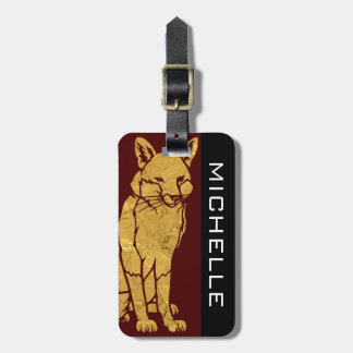 Personalized Golden Fox Burgundy BS Luggage Tag