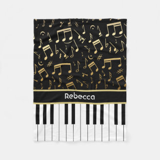 Personalized golden notes and piano keys fleece blanket