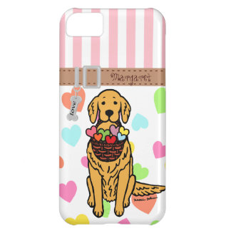 Personalized Golden Retriever Cartoon iPhone 5C Cover