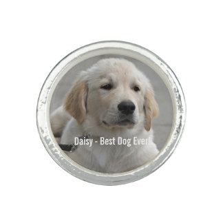 Personalized Golden Retriever Dog Photo and Name Ring