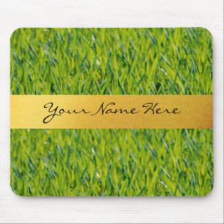 Personalized Golden Stripe on Green Grass Mouse Pad