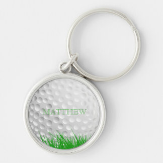 Personalized Golf Ball in Grass Silver-Colored Round Keychain