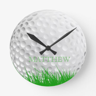 Personalized Golf Ball in Grass Wall Clock