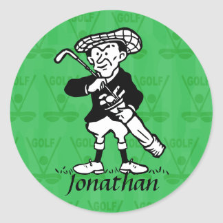 Personalized golf cartoon golfer classic round sticker
