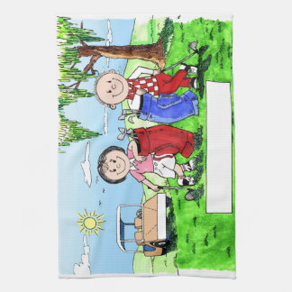 Personalized Golf Couple Cartoon Caricature Kitchen Towels