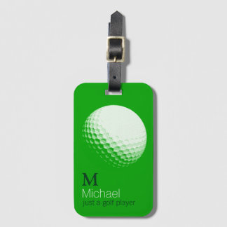 personalized golf player name green luggage tag