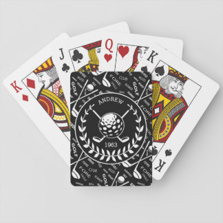 Personalized golfer stylish golf logo playing cards