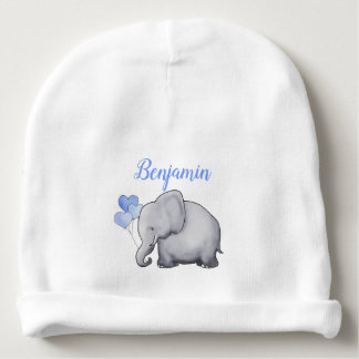 Personalized Gorgeous Blue Heart Balloon Elephants Baby Beanie
