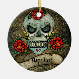 Personalized Goth Biker Sugar Art Skull Grungy Ceramic Ornament
