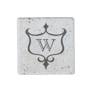 Personalized gothic medieval shield monogram stone magnets