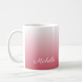 Personalized gradient ombre salmon pink coffee mug