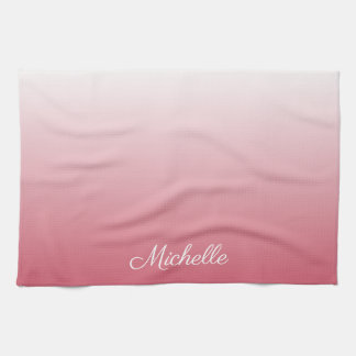 Personalized gradient ombre salmon pink kitchen towel
