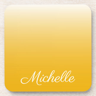Personalized gradient ombre yellow coaster