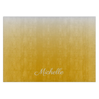 Personalized gradient ombre yellow cutting board
