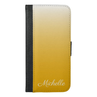 Personalized gradient ombre yellow iPhone 6/6s plus wallet case