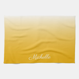 Personalized gradient ombre yellow kitchen towel