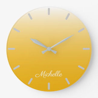 Personalized gradient ombre yellow large clock