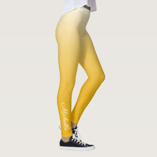 Personalized gradient ombre yellow leggings