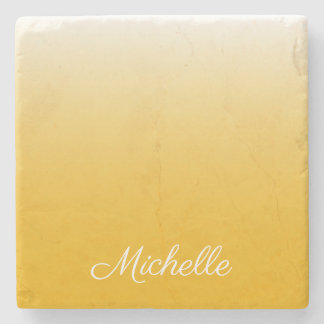 Personalized gradient ombre yellow stone coaster