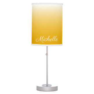 Personalized gradient ombre yellow table lamp