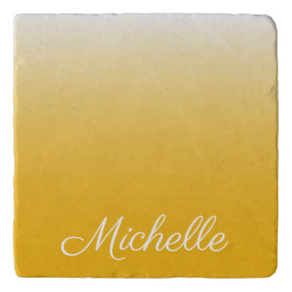 Personalized gradient ombre yellow trivet